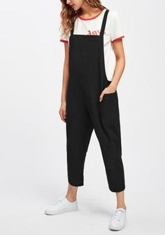 093e676c5c51 Black Pockets Shoulder-Strap Going out Casual Overall Pants Casual Jumpsuit