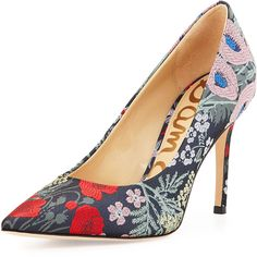 Sam Edelman Hazel Pointed-Toe Floral-Jacquard Pump ($125) ❤ liked on Polyvore featuring shoes, pumps, grey multi, floral print shoes, high heeled footwear, gray pumps, grey pumps and floral shoes