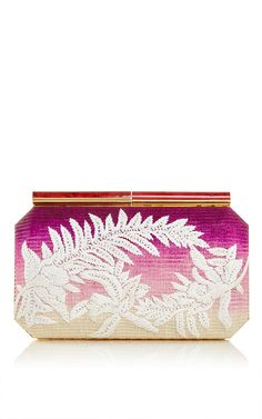 Saya Clutch in Magenta Raffia by Oscar de la Renta for Preorder on Moda Operandi