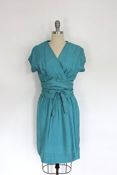 1950s Day Dress / Blue Silk / Wiggle Dress / from ThisBlueBird