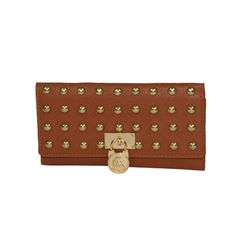 MICHAEL Michael Kors Large Hamilton Studded Flap Wallet in Brown