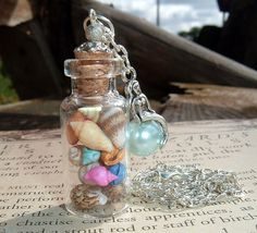 Mermaids Magical Sea Shell Glass Vial Pendant by TheSpiralGoddess, $16.00