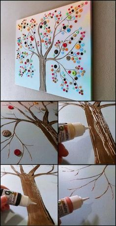 40 Awesome Wall Art DIY Ideas & Tutorials for Your Home Decoration 2019 Button tree wall art. Wall Art Crafts, Art Diy, Canvas Crafts, Art Wall Kids, Diy Wall Art, Paper Crafts, Diy Crafts, Wall Art For Bedroom, Room Crafts