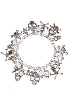 Skull Charm Gothic Bracelet with White Opalite