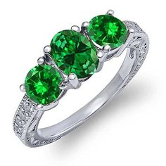 2.40 Ct Oval Green Simulated Emerald 925 Sterling Silver Ring - Brought to you by Avarsha.com