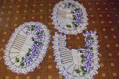 Sandra Roque Artesanatos: Jogo banheiro 3 peças com flores e joaninha