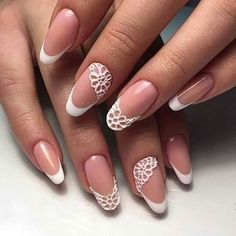 The advantage of the gel is that it allows you to enjoy your French manicure for a long time. There are four different ways to make a French manicure on gel nails. The choice depends on the experience of the nail stylist… Continue Reading → Nail Art Designs 2016, Nail Polish Designs, Nail Art Dentelle, Nail Art Modele, Nail Art Fleur, Bridal Nail Art, Bride Nails, Lace Nails, Stylish Nails