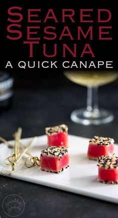These Seared Sesame Tuna Bites are so simple, so delicious and so beautiful. If you need a party nibble then these are the perfect quick canapé. Recipe from Sprinkles and Sprouts   Delicious food for easy entertaining.