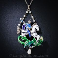 Silver and Enamel St. George Necklace - 90-1-4490 - Lang Antiques
