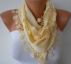 LIGHT YELLOW SCARF  PASHMINA SCARF  HEADBAND NECKLACE BY FATWOMAN, $13.50