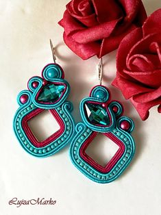 Soutache pink and turquoise elegant earrings Plastic Canvas Tissue Boxes, Plastic Canvas Patterns, Soutache Earrings, Etsy Earrings, Polymer Clay Charms, Monster High Dolls, Tissue Box Covers, Turquoise Color, Neck Warmer