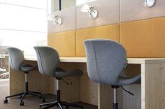 Work Area Office PON Tilburg, Netherlands by WIES | bureau voor ruimtelijk ontwerp #office #interiordesign #color #febrikfabrics #desk #flexworking