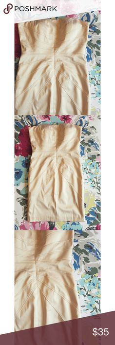 Jessica Simpson champaign strapless dress Worn once Polyester spandex Fully linned Light boning 17 inches from armpit to armpit  Waist measures 14.5 inches when flat  30 inches long Jessica Simpson Dresses Strapless