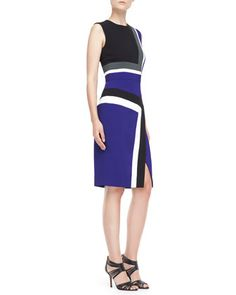 Sleeveless+Colorblock+Insert+Sheath+Dress+by+J.+Mendel+at+Neiman+Marcus.