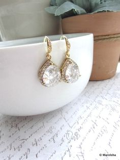 SALE - A Pear Cubic Zircon Drops Earrings. Large LUX Framed Teardrop Shaped Drops Gold Plated Bridal Earrings. Wedding Bridesmaid Gift. via Etsy
