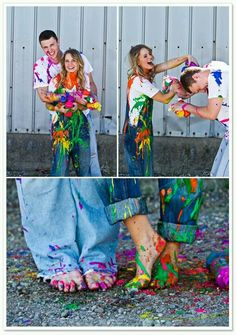 Paint fight. I know this is a photography shoot idea, but it would be so fun with mom, dad, and kiddos in the back yard just for fun. AND if you happen to have a photographer around, tell them to shoot to their hearts content! :)