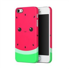 Watermelon Kawaii Face Apple iPhone 5, iPhone 5s, iPhone SE Plastic... ($8.99) ❤ liked on Polyvore featuring accessories and tech accessories