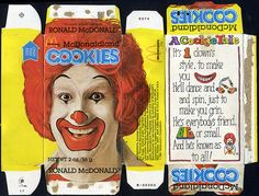McDonald's - McDonaldland Cookie box - Ronald McDonald - 1981 by JasonLiebig (needs resizing) Retro Recipes, Vintage Recipes, Doll Crafts, Paper Crafts, Happy Meal Box, Barbie Food, Vintage Packaging, Cookie Box, Dollhouse Accessories