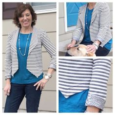 We are absolutely in love with @girlsinthegarden's new #morrisblazer and must now make a stripe ponte version ourselves! Perfect for summer! #stylemakerfabrics @grainlinestudio #springsewing #springfabrics by stylemakerfabrics