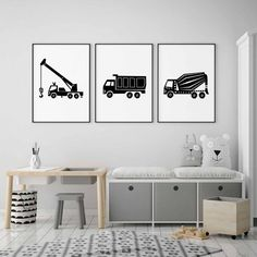 Crane Truck Print in Black and White for Big Boy Decor Construction Transportation Wall Art Boom Truck Big Girl Rooms art big black Boom Boy Construction Crane Decor Print Transportation Truck Wall White Boy Decor, Boys Room Decor, Kids Bedroom, Bedroom Decor, Lego Bedroom, Kids Homework Station, Art Mur, Wall Art, Home Decor