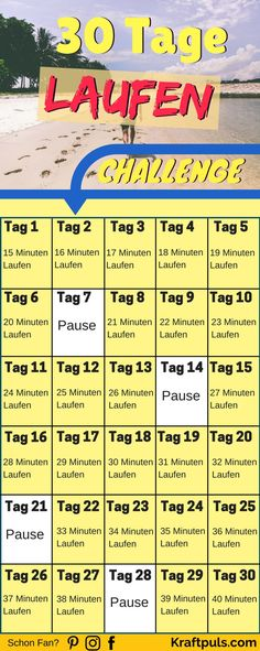 30 Day Run Challenge: How to Burn Over Calories . Running is not only easy but also super effective! Whether you want to lose weight or train for a marathon, this challenge will help you. via KRAFTPULS fitnessdiettips marathon 30 Day Running Challenge, Month Workout Challenge, Workout Schedule, Health Challenge, Thigh Challenge, Plank Challenge, Fitness Workouts, Fitness Herausforderungen, Bikini Fitness
