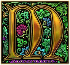 More Favorite Quotes: Royal Illuminated Decorative Alphabet (Golden) Illuminated Letters, Illuminated Manuscript, Lettering Tutorial, Hand Lettering, Lettering Styles, Illustration Art Nouveau, Foto Transfer, Beautiful Calligraphy, Monogram Letters