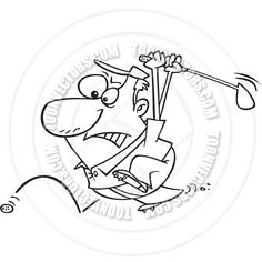 golf pics black and white   Cartoon Man Chasing Golf Ball (Black and White Line Art) by Ron ...