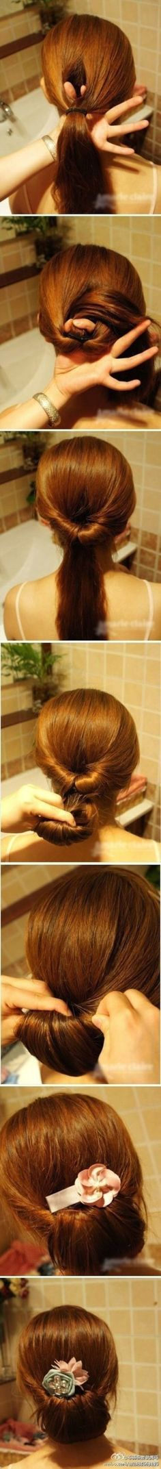 Easy updo.  Split pony bun