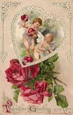 Antique vintage valentine: Cupids & red roses