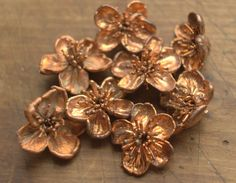 Real cherry flowers electroformed with copper, copper dipped big flowers,metal cherry flowers,cherry pendants,nature inspired,electroforming