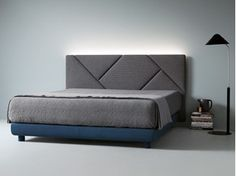 Fabric bed double bed with upholstered headboard OPUS By Caccaro design Sandi Renko Bed Headboard Design, Bedroom Bed Design, Bedroom Furniture Design, Headboards For Beds, Bed Furniture, Bedroom Decor, Headboard Ideas, Modern Headboard, Padded Headboards
