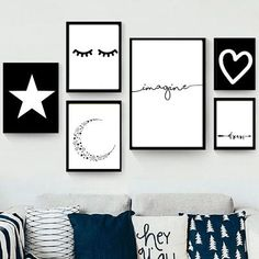 Set de 6 cuadros modernos - Blanco y Negro - Hoku Deco Creative Wall Decor, Creative Walls, Deco Tumblr, Diy Room Decor, Bedroom Decor, Home Decor, Nursery Decor, Deco Rose, Aesthetic Room Decor