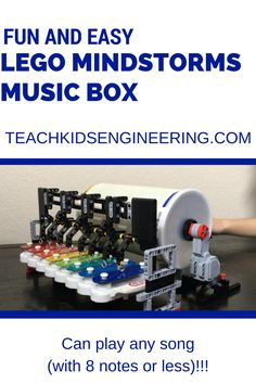 We used a baby toy, an oatmeal carton, and some pushpins to make this fun Music Box with our LEGO Mindstorms set.