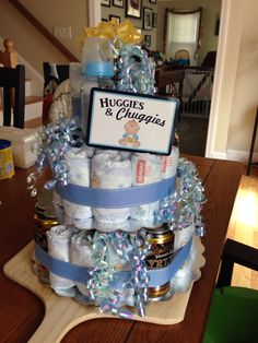 Huggies and Chuggies diaper cake for baby shower! Beer and diapers