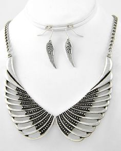 Burnished Silver Tone / Lead Compliant / Metal / Wing Necklace & Fish Hook Earring Set