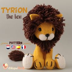 Lion Crochet PATTERN Amigurumi patterns pdf tutorial - TYRION the lion - Please note that this is a crochet pattern, NOT the finished toy. The PDF amigurumi lion tutorial - Crochet Lion, Chat Crochet, Crochet Giraffe Pattern, Crochet Animal Amigurumi, Crochet Motifs, Crochet Patterns Amigurumi, Crochet Animals, Crochet Dolls, Free Crochet