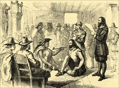 Massasoit chief of the Wampanoag, smoking a peace pipe with Governor John Carver, my ancestor William Brewster and the Pilgrims at Plymouth Colony, Mass. They all lived together in peace and harmony, helping each other since they landed there in Native American Lessons, Native American Indians, American History, Native Americans, American War, Pilgrim Fathers, Plymouth Colony, Peace Pipe, Fire Island