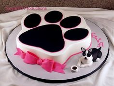 Free UK delivery on all cakes with each cake handmade to order. Book your Cat Cake easily online or call us on 01753 374 726 Cake Dog, Puppy Cake, Dog Cakes, Girl Cakes, Cakes To Make, How To Make Cake, Fondant Cakes, Cupcake Cakes, Buttercream Cake