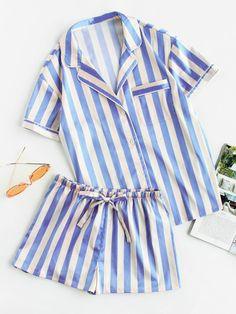 Piping Detail Pocket Front Shirt And Shorts Pajama Set