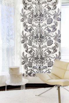 Vallila Interior Syvämeri black white and burnout curtains & Cozy rug Vallila Interior Finland Print Patterns, Cozy, Curtains, Black And White, Living Room, Rugs, Fabric, Birches, Finland