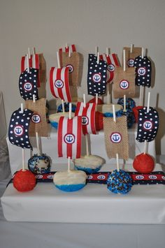 Cake pops at a Nautical Party #nautical #partycakepops