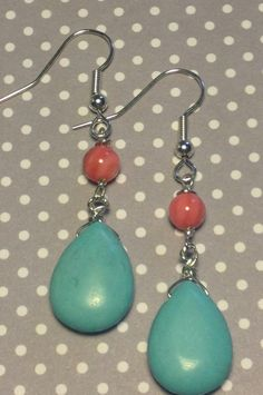 Turquoise and salmon drop earrings