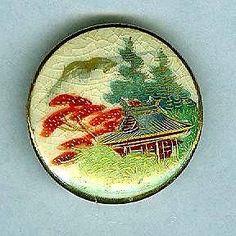Very Nice Satsuma Button Japanese House Trees Mountain Scene | eBay