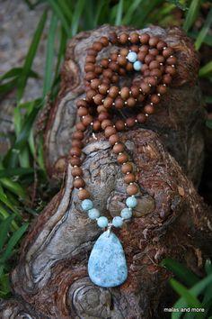 Chrysocolla  Sandalwood Mala - Meditation Inspired Yoga Beads via Etsy