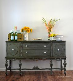 vintage-buffet-painted-and-distressed-picked-and-painted-milk-paint: mix of Sea Green, Pitch Black and Cream. Refurbished Furniture, Repurposed Furniture, Furniture Makeover, Vintage Buffet, Antique Buffet, Furniture Making, Home Furniture, Furniture Stores, Furniture Ideas