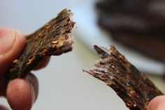 Biltong is a type of cured meat that comes from South Africa; it's similar to jerky, but uses vinegar to cure the meat and biltong is often a bit thicker. Snack Recipes, Dessert Recipes, Snacks, Desserts, Biltong, South African Recipes, Big Cakes, Dehydrator Recipes, Good Food
