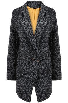 Abrigo tweed solapa manga larga-Gris oscuro EUR€31.36