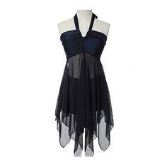 Rotita Black Empire Waist Asymmetric Halter Swimdress ($25) ❤ liked on Polyvore featuring swimwear, one-piece swimsuits, dresses, black, black one piece swimsuit, halter top, black bathing suit, black swim dress and black swimsuit