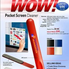 Pocket Screen Cleaner. Custom Printed Promotional Computer ideas. Logo Printed Screen cleaner. See more promotional ideas, and product specials at www.abetteridea.com