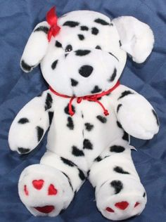 "COMMONWEALTH STUFFED PLUSH PUPPY DOG DALMATION Red Heart feet Soft Lovey 14"" #CommonwealthToys"